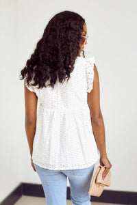 SALE - Livy Eyelet Ruffle Top