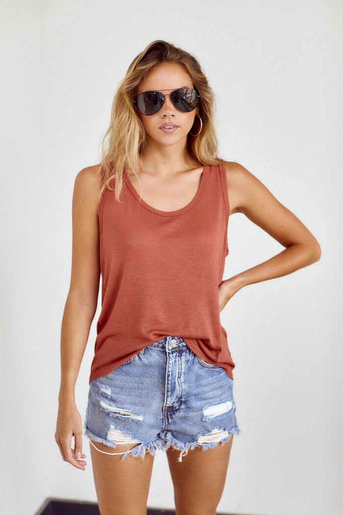 SALE - Caroline Scoop Neck Tank