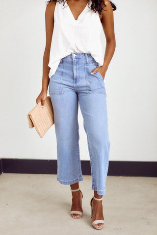 Ashbury Wide Leg Crop Denim