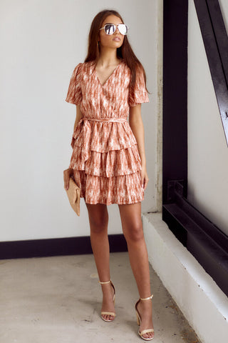 PreOrder Decker Short Sleeve Printed Tiered Dress