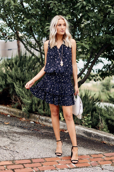 fab'rik - Celine Star Print Pleated Mini Dress image thumbnail