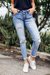 Mid Rise Button Up Distressed Denim