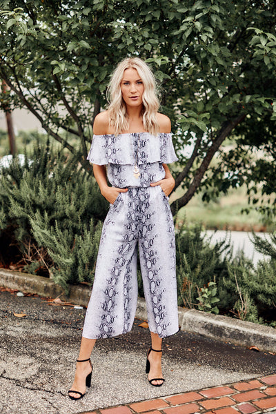 fab'rik - Mags Snakeskin Off the Shoulder Jumpsuit image thumbnail