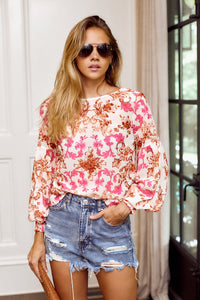 Kyliee Long Sleeve Printed Blouse