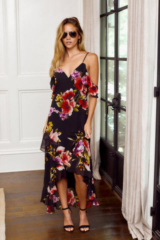 PreOrder Olivia Cold Shoulder Floral Maxi Dress