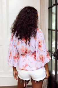 SALE - Madison Pleated Sleeve Floral Blouse
