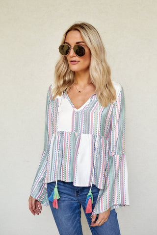 Mia Stripe Bell Sleeve Blouse