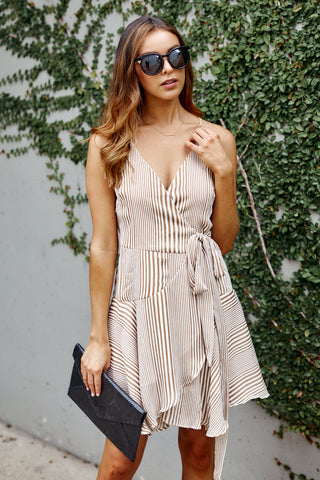 Elsa Striped Wrap Dress