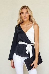 Gia Color Block Asymmetrical Blouse
