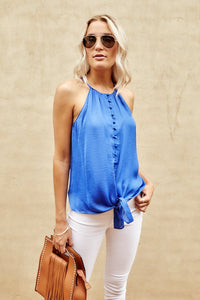 Axley High Neck Button Down Cami