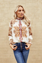 Load image into Gallery viewer, Athena Mock Neck Printed Blouse