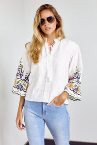 Winthrop Embroidered Bell Sleeve Blouse