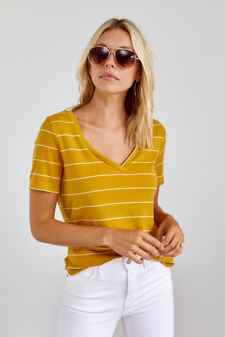 Bentley Striped V Neck Tee