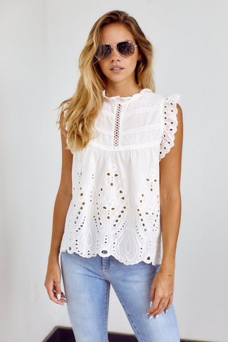 PreOrder Holland Ruffle Sleeve Crochet Blouse