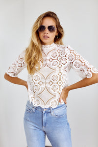Lexington High Neck Crochet Blouse