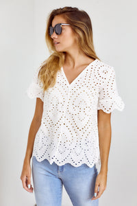 PreOrder Seabrooke Scalloped Hem Crochet Blouse