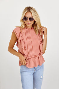 SALE - Florida Pleated Front Ruffle Detail Blouse