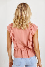 Load image into Gallery viewer, SALE - Florida Pleated Front Ruffle Detail Blouse