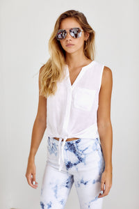 SALE - Sidney Tie Front Sleeveless Blouse
