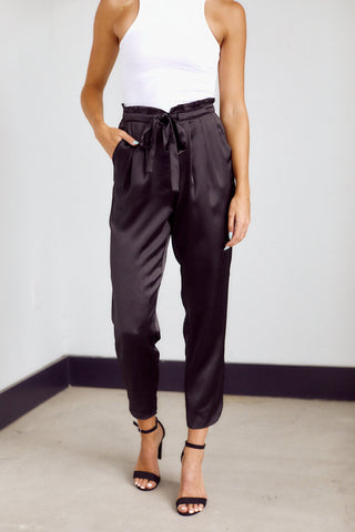 Roxie Silky Tie Waist Tailored Pant