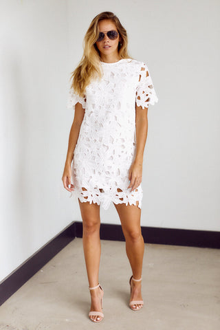 Rowley Floral Crochet Detail Mini Dress