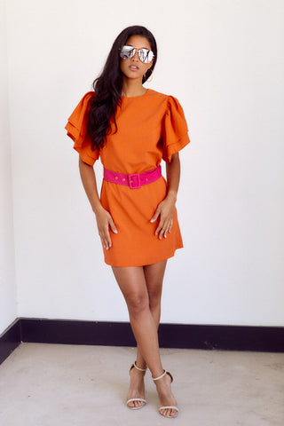 PreOrder Fara Belted Puff Sleeve Dress