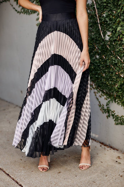 fab'rik - Valencia Pleated Color Block Skirt image thumbnail