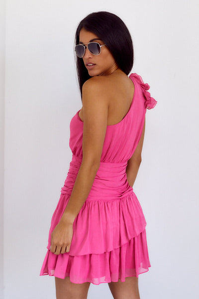 fab'rik - PreOrder Lenora Ruffle Detail One Shoulder Dress image thumbnail