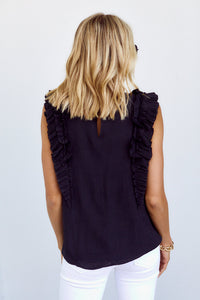 SALE - Dakota Ruffle Detail Sleeveless Blouse