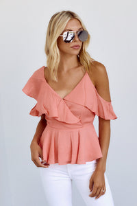 Arden Ruffle Detail Cold Shoulder Blouse