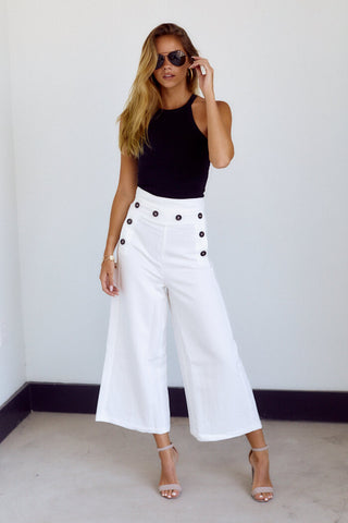 PreOrder Cooper Button Detail Wide Leg Pant
