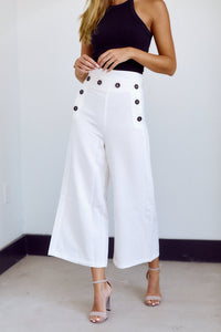 Cooper Button Detail Wide Leg Pant