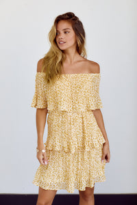 Waverly Print Off Shoulder Tiered Dress