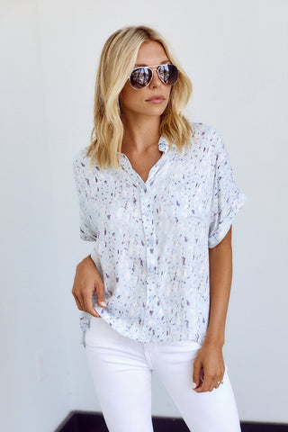 PreOrder Alexa Short Sleeve Button Down Top