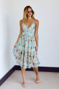 SALE - Tennie Floral Print Ruffle Detail Midi Dress