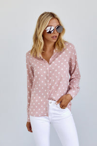Liosa Polka Dot Button Down Top