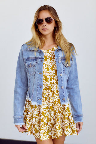 Cove Distressed Hem Denim Jacket