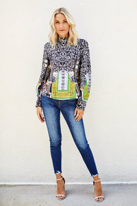 Lowry Printed High Neck Blouse