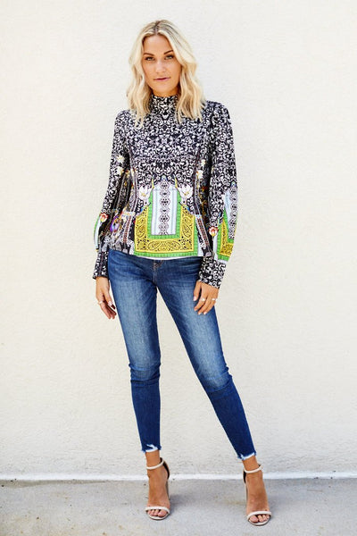 fab'rik - Lowry Printed High Neck Blouse image thumbnail