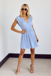 Augustine Pleated V Neck Mini Dress