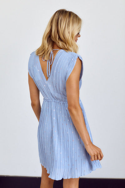 fab'rik - Augustine Pleated V Neck Mini Dress image thumbnail