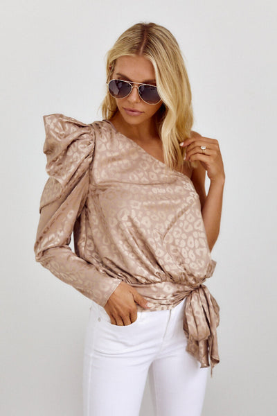 fab'rik - Banks One Shoulder Animal Print Top image thumbnail