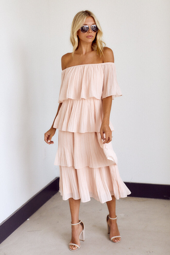 fab'rik - Brooklyn Off The Shoulder Pleated Midi Dress ProductImage-14140240035898