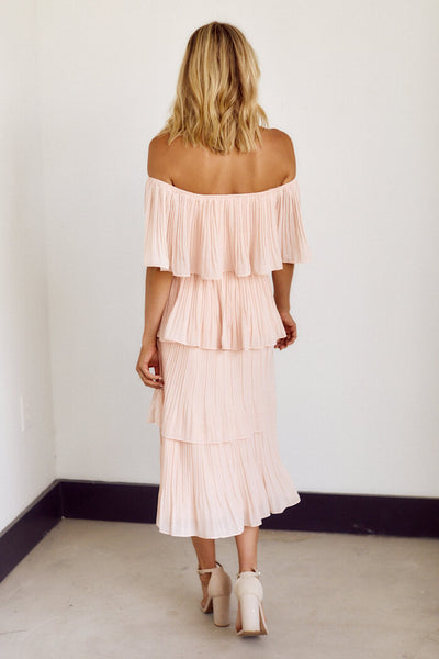 fab'rik - Brooklyn Off The Shoulder Pleated Midi Dress image thumbnail