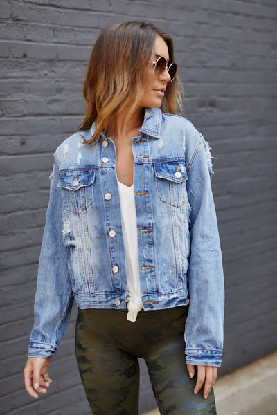 fab'rik - Amie Distressed Denim Jacket image thumbnail