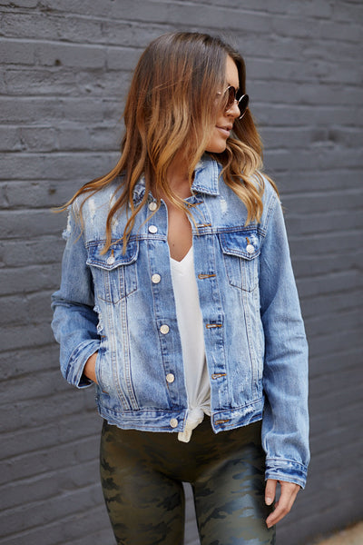 fab'rik - Serena Distressed Denim Jacket image thumbnail