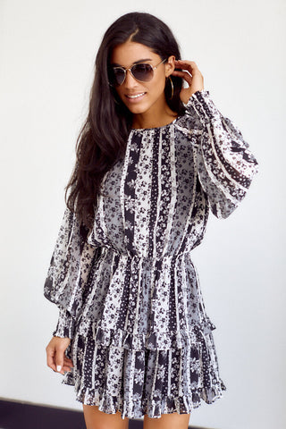 PreOrder Chellie Printed Long Sleeve Dress