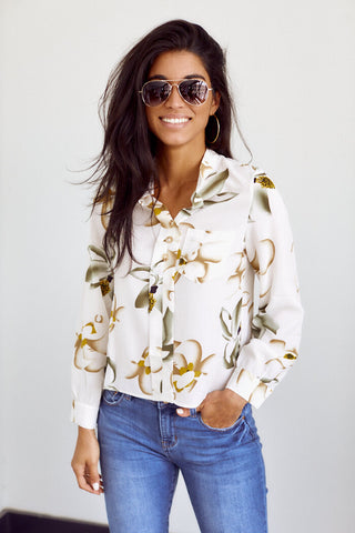 PreOrder France Long Sleeve Button Down Blouse