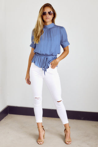 Brynn Ruched Neck Peplum Top