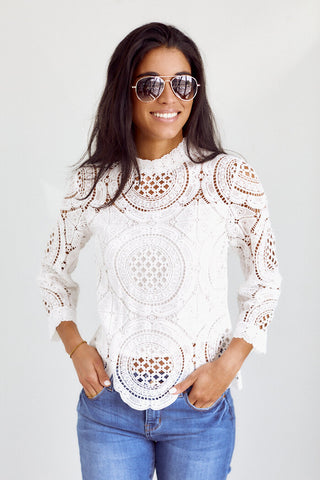 PreOrder Marlena Crochet Detail Long Sleeve Blouse